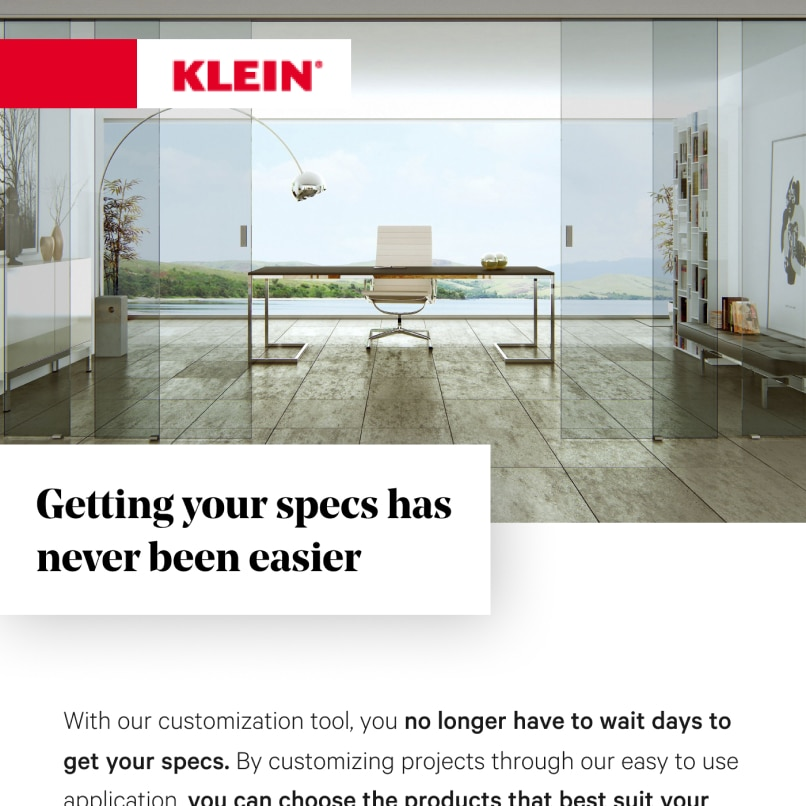Creative use of text overlays and project images in this Klein USA newsletter