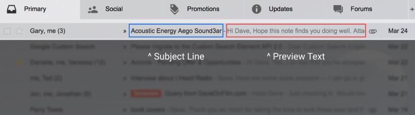 Example of preview text within the Gmail desktop browser
