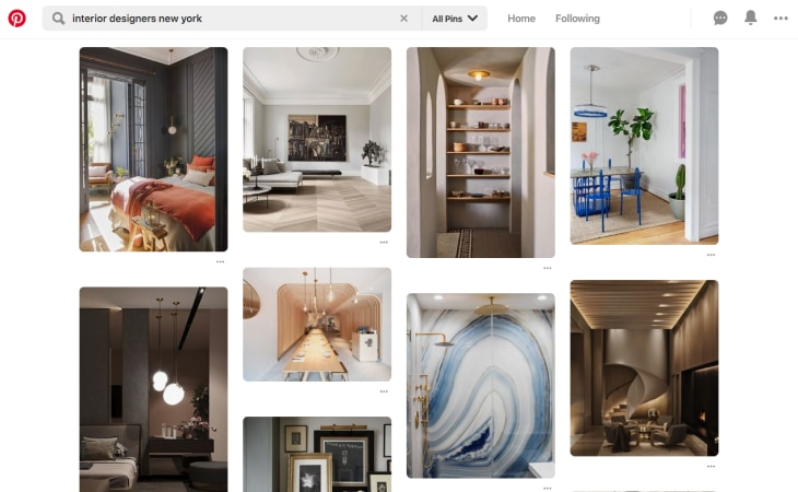 Searching for interior designers in New York on Pinterest