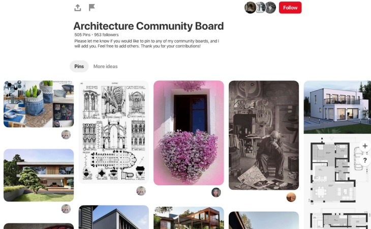 Pinterest Marketing for Architects - Screenshot of architecture profile