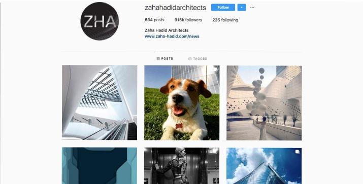 Zaha Hadid Architects Instagram's page