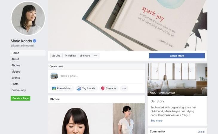 Marie Kondo Facebook's page